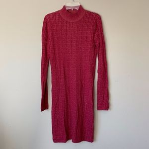 Abercrombie & Fitch Red Cable Knit Sweater Dress